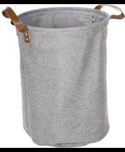 Pesukorv nahksangadega, hall tekstiil