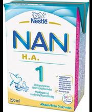 Nan HA 1 piimajook 200 ml, alates sünnist