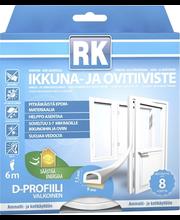 RK akna- ja uksetihend, D-profiil, EPDM, 6 m, valge