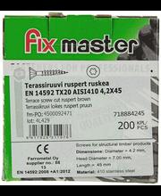 Fixmaster terrassikruvi, AISI410, TX20, 4,2 x 45 mm, 200 tk, ...