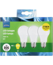 LED-lamp 9W E27 2700K 806LM, 3 tk