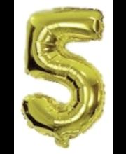 Number 5 kujuline fooliumõhupall Decorata Party, kuldne