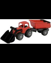 Plasto traktor järelkäruga 56 cm, punane