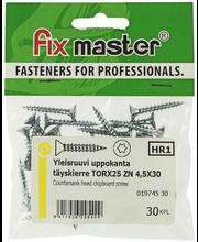 Fixmaster universaalkruvi, peitpea, TX25 ZN, 4,5 x 30 mm, 30 tk