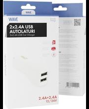 Autolaadija 2 x USB (24W), valge