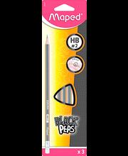 Pliiats BlackPeps kolmekandiline HB 3tk kummiga