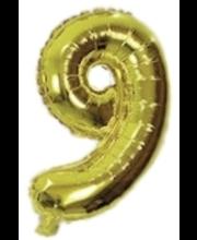 Number 9 kujuline fooliumõhupall Decorata Party, kuldne