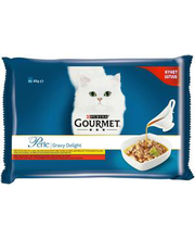 Gourmet Perle Gravy Delight kassitoiduvalik kanaliha, veiselihaga 4x85g