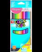 Värvipliiats ColorPeps 12tk+pliiats BlackPeps+teritaja
