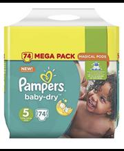 Pampers teipmähkmed Baby Dry 5 Mega Pack, 11–16kg, 74 tk