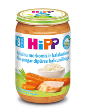 Hipp riisi-porgandipüree kalkunilihaga 220 g, bio, alates 8-elukuust