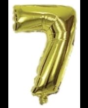Number 7 kujuline fooliumõhupall Decorata Party, kuldne