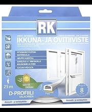 RK akna- ja uksetihend, D-profiil, EPDM, 25 m, valge