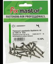 Fixmaster universaalkruvi, peitpea, A2 TX25, 5,0 x 30 mm, 15 tk