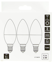 LED-küünal 6W E14, CMI 3000K 470LM, 3 tk