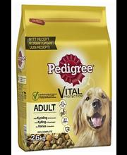 Pedigree Adult täissööt koertele kana ja köögiviljadega, 2,6 kg