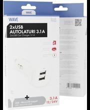 Autolaadija 3.1A 2 x USB