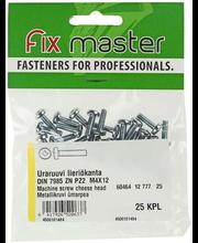 Fixmaster metallikruvi, ümarpea, DIN7985, ZN PZ2, M4 x 12 mm,...