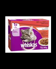 Whiskas 1+ klassikaline täissöödavalik kassidele tarrendis, 12 x 100 g