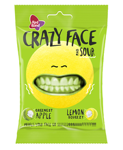 Red Band Crazy Face Sour õuna-sidruni kummikommid 80 g