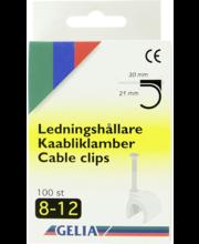 Gelia kaabliklambrid, 8-12 mm, 100 tk, valge