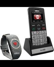 Seeniorimobiiltelefon SOS-turvanupuga ja -turvarandmevõruga MaxcomMM715BB