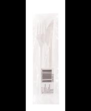 Söögitarvikute komplekt (kahvel, salvrätik, hambaork)