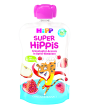 Hipp Super Hippis õuna-vaarikapüree granaatõuna ja acerola-kirsiga 100g, öko, alates 1-eluaastast