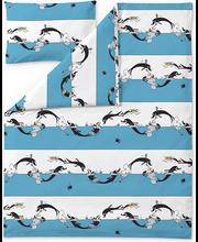 Voodipesukomplekt Muumi 120x160 cm, türkiis/valge