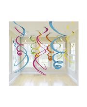 Mitmevärvilised spiraalkaunistused Swirl, plast, 12 tk