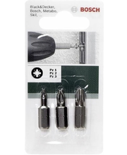 Bosch 3-osaline PZ kruviotsikute komplekt, 25 mm
