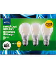 LED-lamp 7W E27 2700K 806LM, 3 tk