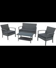 Aiamööbli komplekt 4-osal: laud 81x48x41 cm, diivan 118x68x79