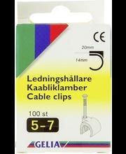Gelia kaabliklambrid, 5-7 mm, 100 tk, valge