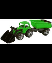 Plasto traktor järelkäruga, roheline