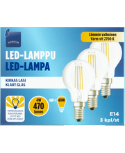 LED-lamp E14 4W 2700K 470LM, 3 tk