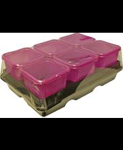 Istutuspott 8x8 cm 12 tk, roosa plast + 2 alust