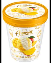 Vanillijäätis ja mangosorbett, 500 ml