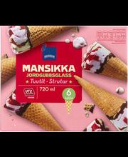 Maasika- ja vanillijäätis, 6 tk