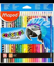 Värvipliiats Colorpeps animal 24 tk