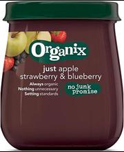 Organix õuna-maasika-mustika püree 120 g, alates 6-elukuust
