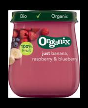Organix banaani-vaarika-mustika püree 120 g, alates 6-elukuust