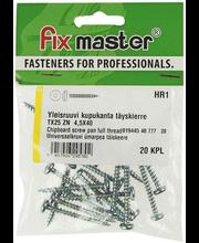 Fixmaster universaalkruvi, ümarpea, TX25 ZN, 4,5 x 40 mm, 20 tk