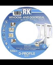 RK akna- ja uksetihend, D-profiil, EPDM, 100 m, valge
