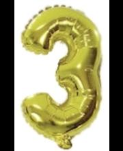 Number 3 kujuline fooliumõhupall Decorata Party, kuldne