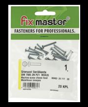 Fixmaster metallikruvi, ümarpea, DIN7985, ZN PZ1, M3 x 20 mm,...