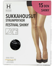 Naiste sukkpüksid Festival Shiny 15 den must, 36-40