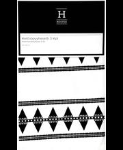 Köögirätik Helmi 50x70 cm 3 tk, must/valge