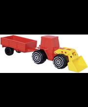 Plasto traktor järelkäruga 33 cm, punane