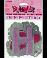 Tekstivanik Happy Birthday Unique Banner, 1,27 m, roosa-hõbedane